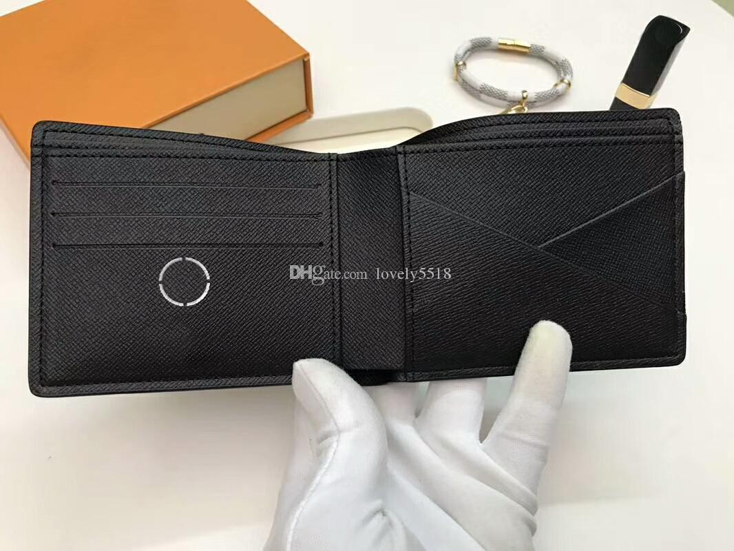 2019 Fashion Women/Men Card Holder Purses 11cm Famous Brand Eclipse Genuine Leather 60895 wallets With Box dust bags C36#9
