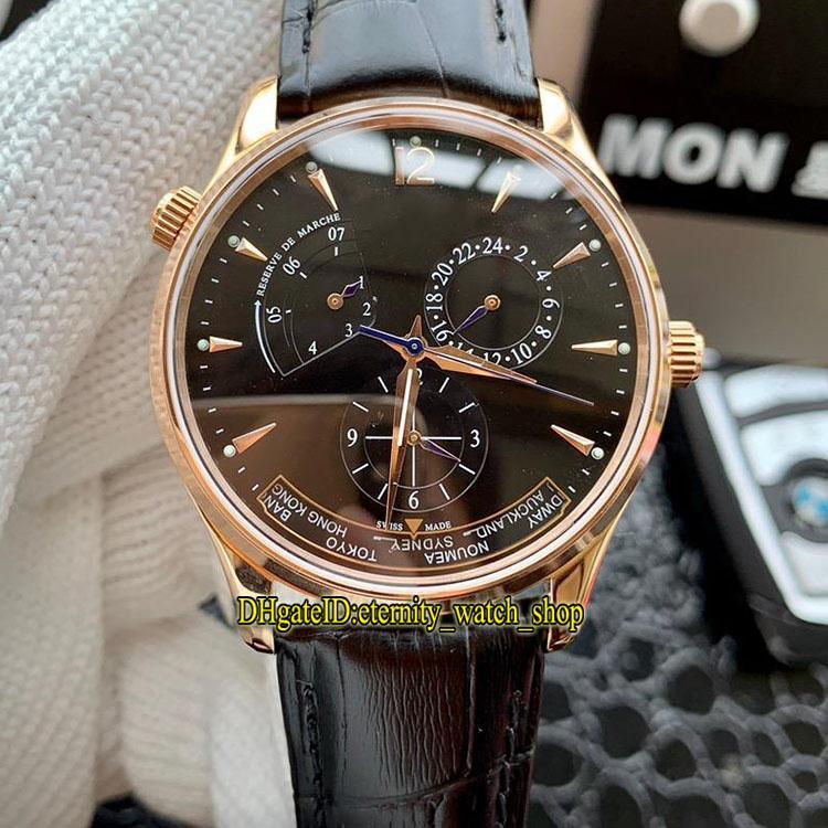 Haute Qualité Master Geographic 1422521 Cadran Noir Réserve De Puissance Japon Miyota Automatique Montre Pour Homme Or Rose Bracelet En Cuir Bracelet Homme