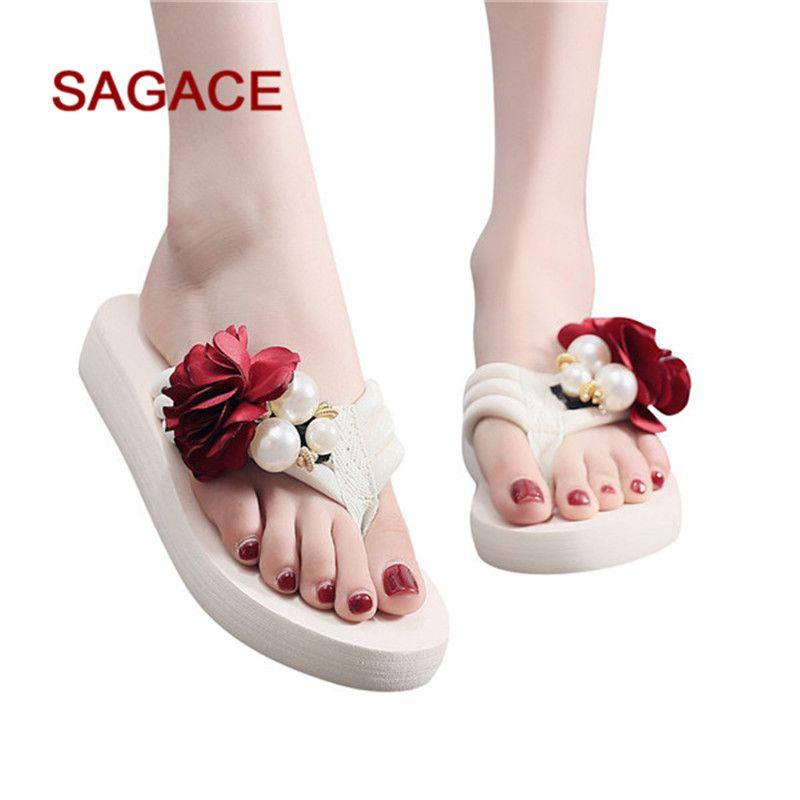 SAGACE моды Тапочки Женская Летняя Stretch Ткань Тапочки Seaside Pearl Non-Slip Плоский пляж Обувь Sandalia Feminina