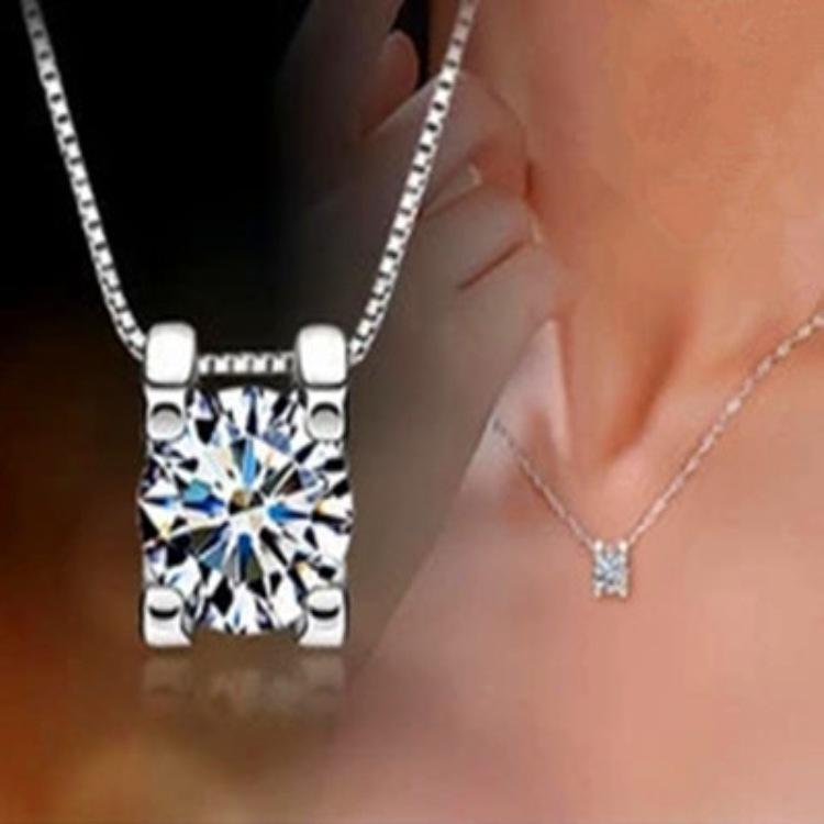 Stylish Silver Round Crystal Pendant Necklace For Women Fashion Jewelry Short Collarbone Chain Set With Zircon Ladies Necklace