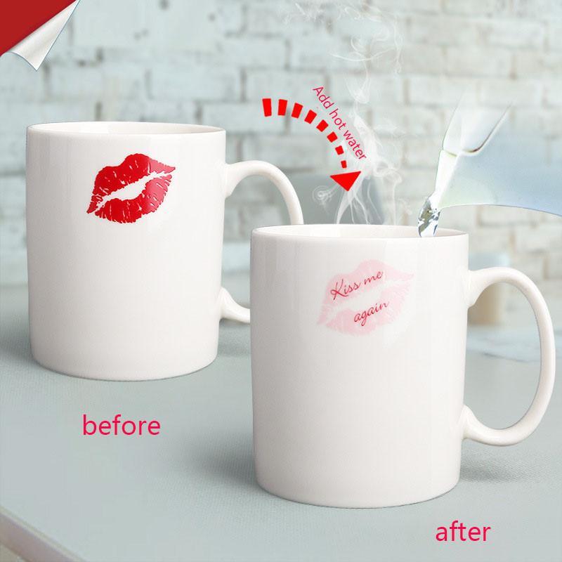 Mug değiştirme 10 oz Kırmızı dudaklar, Seramik Sihirli Isı Duyarlı değiştirme Kahve Kupa Yenilik Çay Kupası Doğum Yıldönümü Lover Hediye