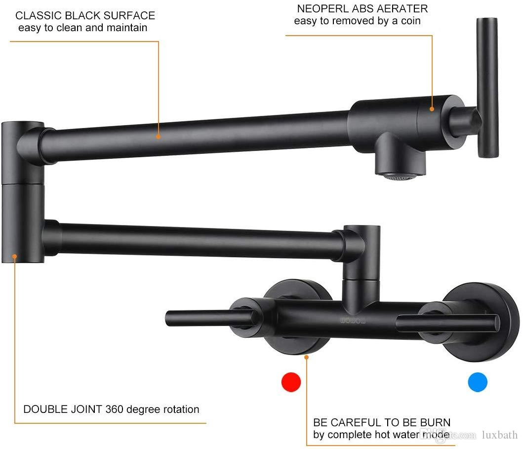 2020 Rolya Black Pot Filler Faucet For Hot And Cold Water Folding Kitchen Faucet Wall Mount Commercial Restaurant Faucet Lead Free Faucets 2 Hand From Luxbath 94 88 Dhgate Com