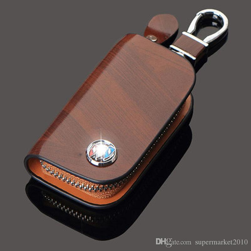 حقيقي حقيبة جلدية أصحاب قضية رئيسية للسيارة بويك مازدا VW TOYOTA BMW AUDI سيتروين هيونداي بنز هوندا لكزس شيفروليه مفتاح سلسلة المفاتيح