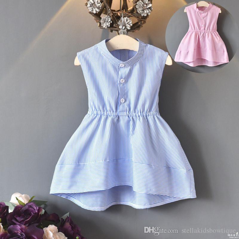 mejor baratas 66369 9f323 Compre Falda A Rayas De Verano Para Niñas 2019 Nueva Moda De Verano Vestido  De Verano De Swallowtail Boutique Sin Mangas Vestido Marea A $14.05 Del ...