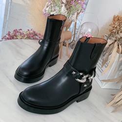 Motosiklet botları boyutu 35-41 US10 fermuar Sıcak Satış ayakkabı moda demir zincir Cizme Deri