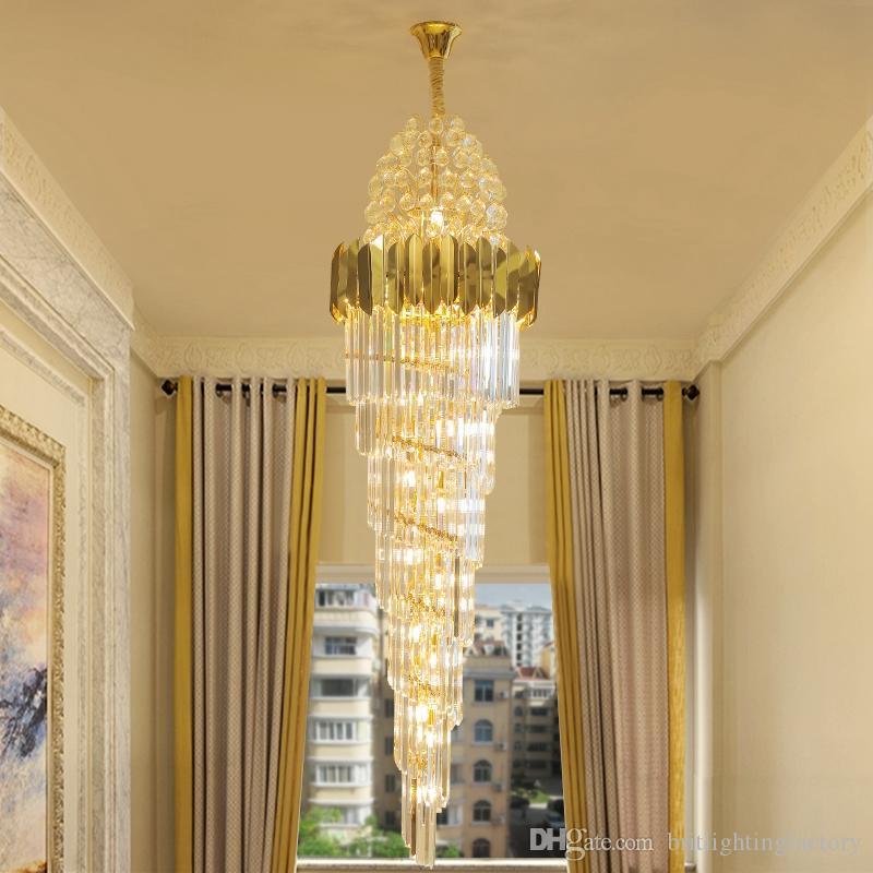 Duplex Mitte Stock Wendeltreppe Lange Crysrtal Kronleuchter Villa Wohnzimmer Kristalllampe Hotel Custom Big Kristallleuchter-Beleuchtung