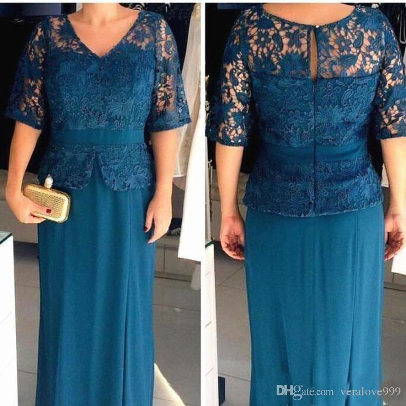 2019 Plus Size Mother of the Bride Dresses V Neck Half Sleeves Lace Top Sheath Evening Gowns Cheap Prom Dresses