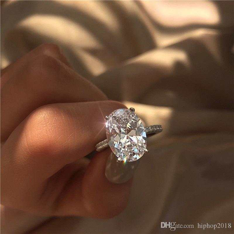 2019 New Womens Wedding Rings Fashion Silver Gemstone Engagement Rings Jewelry Simulated Diamond Ring For Wedding