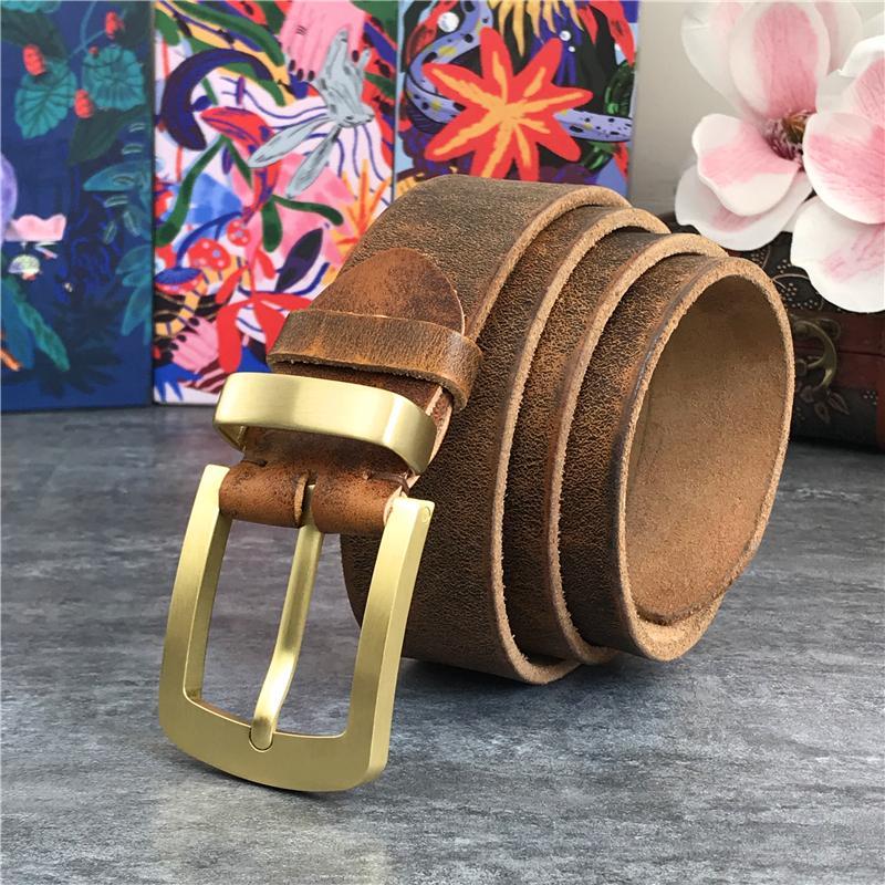 Vintage Brass Buckle echtes Leder Mann Ceinture Gelb Cowboy Jeans Men'Long 130cm Gürtel MBT0006 T200511