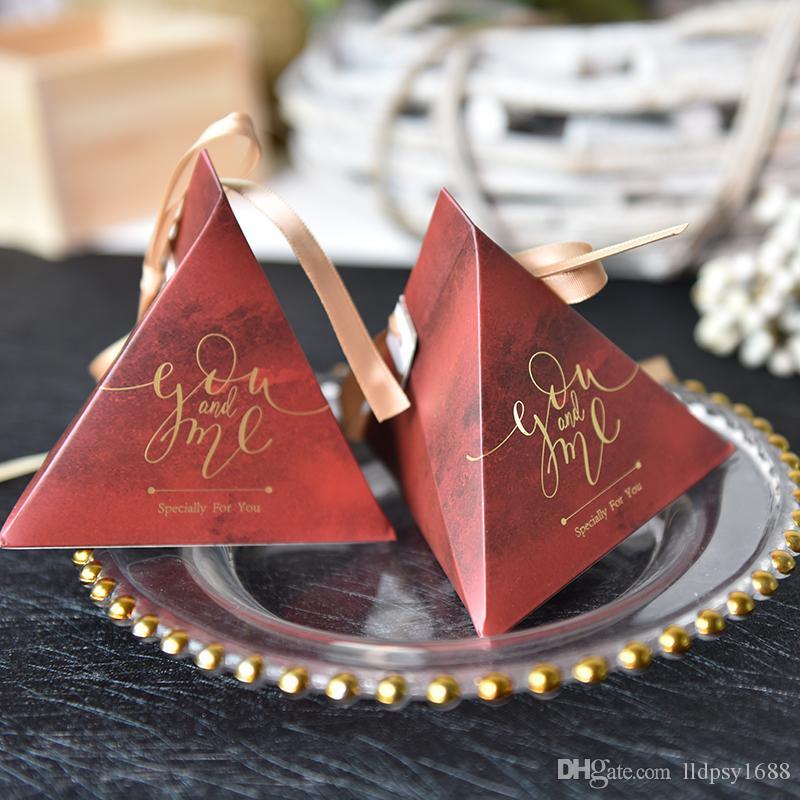 Yeni Creative Üçgen Piramit Şeker Kutusu Bebek Düğün Hediyeleri Kutular Çikolata Kutusu Eşantiyon Kutuları Doğum Günü Partisi Malzemeleri Yana