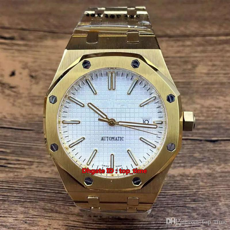 9 estilo de Alta Qualidade Assista 41mm Data A2813 Automático Mens Watch 15400ST 18k de Ouro Branco Dial Stainless Steel Pulseira Gents Relógios