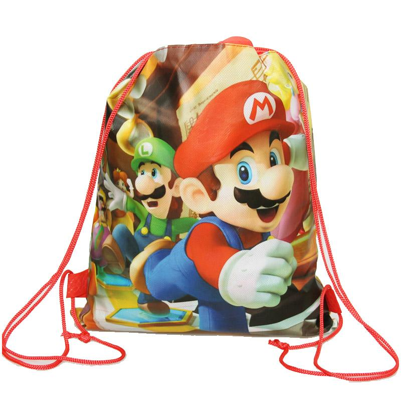 1pcs Cartoon super mario bros theme birthday party gifts non-woven drawstring goodie bags kids favor swimming school backpacks