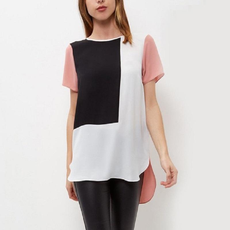 Womens Spring Summer T-shirt Moda Negro / blanco empalmado delgado manga corta gota Hemline Casual Tops rosa S M L XL Q3888