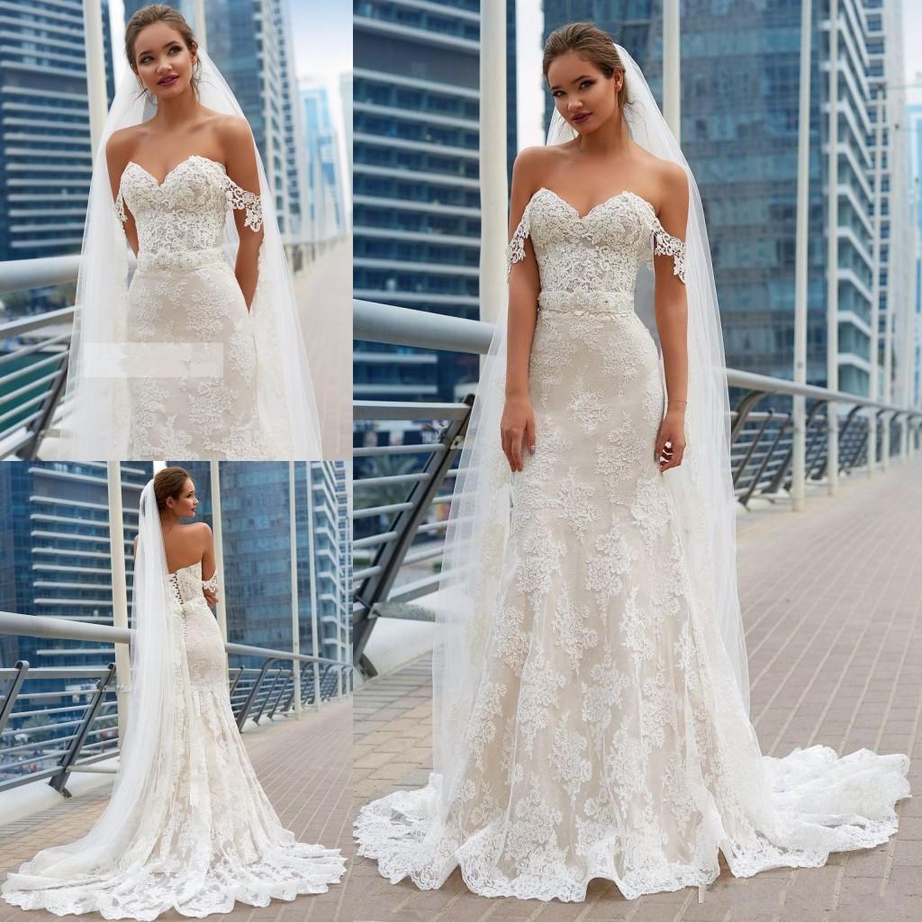 Modest Summer Beach Mermaid Wedding Dresses 2020 Off Shoulder Lace  Appliques Wedding Dress Corset Back Plus Size Formal Bridal Gowns Halter  Top ...