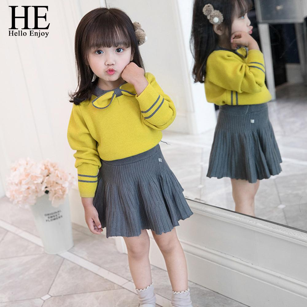 He Hello Enjoy Toddler Girl Clothes Mode Automne Boutique Enfants Vêtements Knit Pullover Pull + Jupe plissée Ensembles Costume Hiver J190713