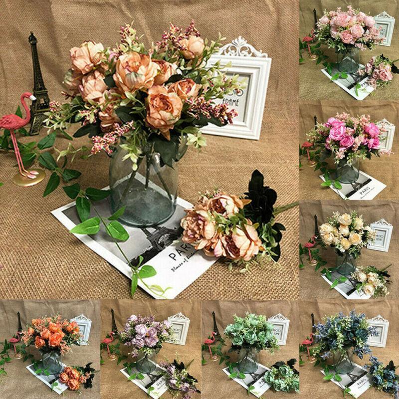 2020 أحدث حار 5 رؤساء الفاوانيا باقة الاصطناعي الرئيسية الزهور الزفاف ديكور الحديقة زهرة الحرير الزفاف الكوبية الديكور