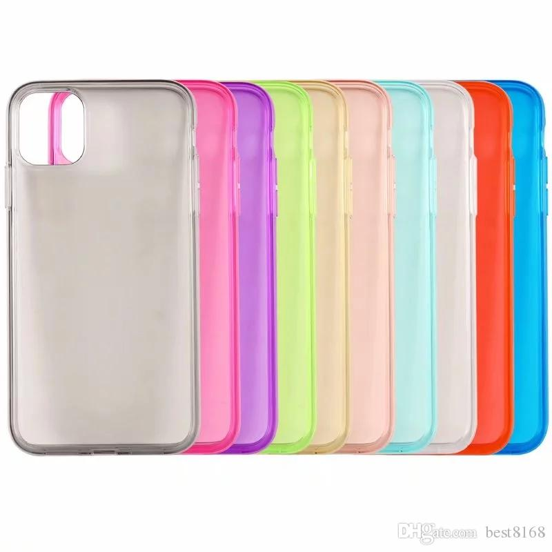 Glossy Soft TPU Case For Iphone 12 11 Pro Max XR XS MAX XS 8 7 6 Samsung S20 Ultra S10 Covers Crystal Silicone Fashion Colorful Clear Rubber