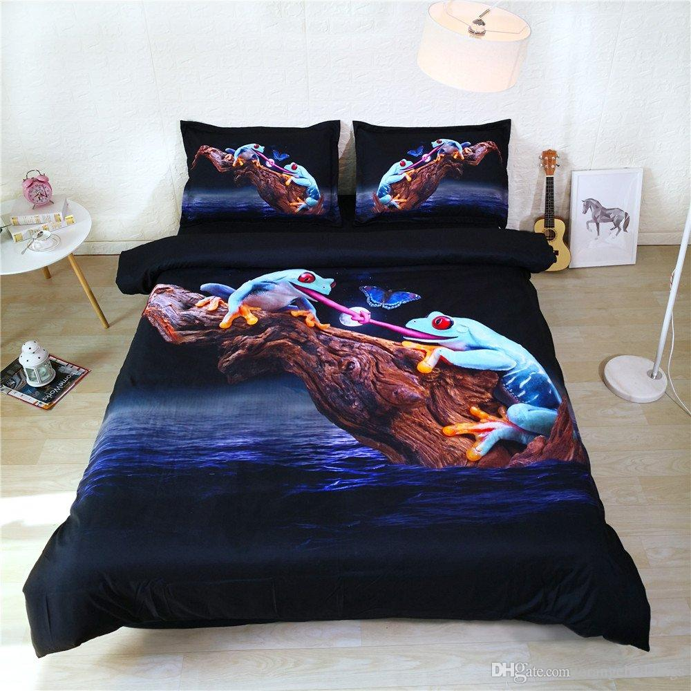 3pc Green Frog Art Bedding Navy Blue Black Bed Set King Size Duvet Cover Butterfly Kids Bedspreads Twin Size for Boys Moon