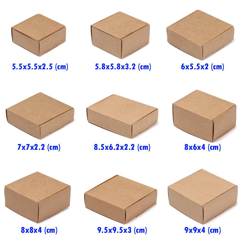 100 x//Lot Small Kraft Paper Box Cardboard Handmade Soap Box Craft Paper Gi U2T2