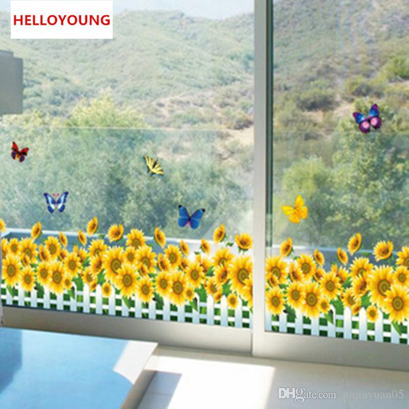 DIY Home Decorative Baseboard Wall Stickers Sunflower Waterproof Bedroom Bedside Removable Wallpapers Mural