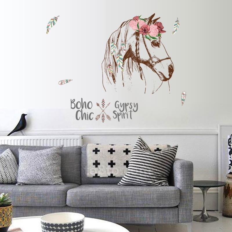 Cheval Autocollant Mural Boho Chic Décoration intérieure Animaux Gypsy Spirit Wall Decal