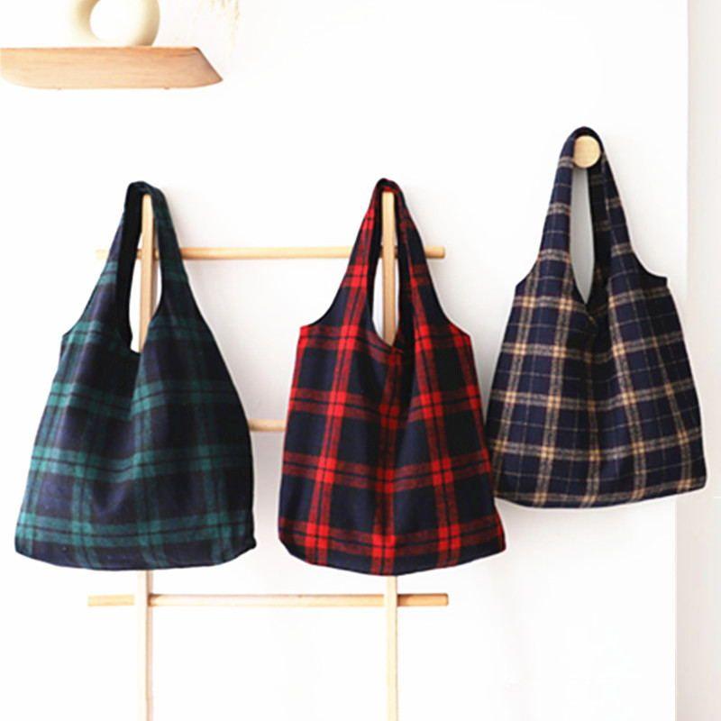 Winter Women Woolen Canvas Shoulder Bag Ladies Vintage Plaid Handbag Totes Female Cotton Wool Cloth Shopping Bags