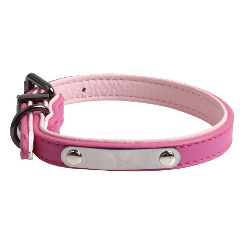 Com Tag Leash Reta Ajustável Pet Dog Collar Uso Prático Gravar Nome Decoração Acessórios De Couro Artificial Durável