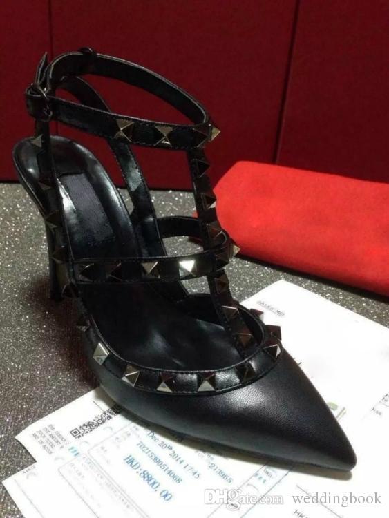 디자이너 지적 발가락 스터드 2 - 스트랩 하이힐 매트 가죽 리벳 샌들 여성 박힌 스트랩 드레스 신발 valentine high heel Shoes
