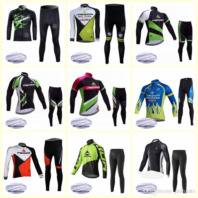 MERIDA team Cycling Winter Thermal Fleece jersey pants sets Outdoors Sports Tops Bike Wear Clothes mens Ropa de ciclismo U81515