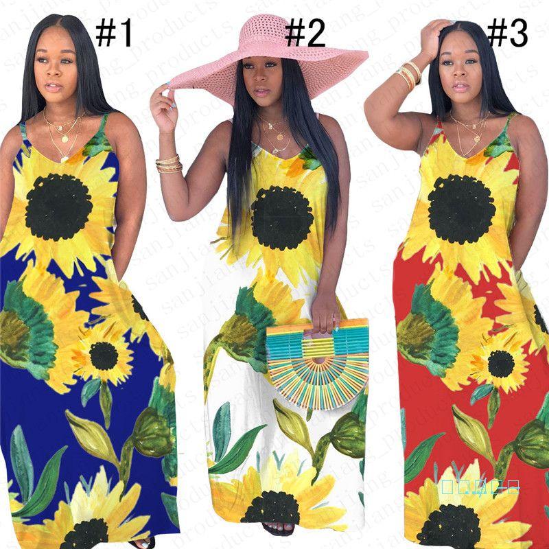 Kadınlar Uzun Elbise Ayçiçeği Baskılı Günlük Yaz Kolsuz Elbiseler Yelek Tankı Etek Askıları Elbise Parti Kulübü Ladies Beach Etek Yeni D5507
