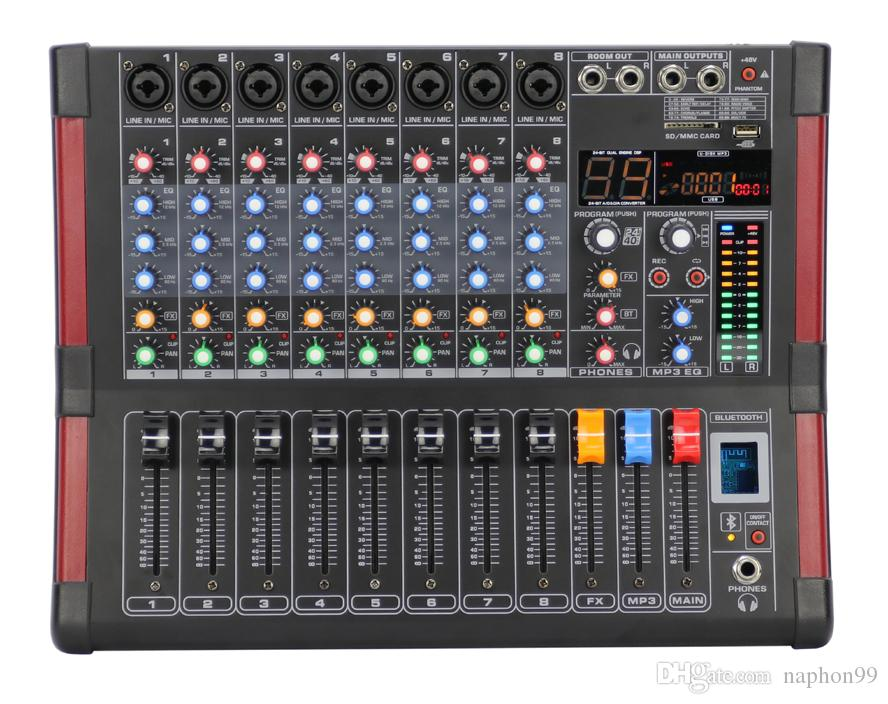 8 Channel 48V Phantom 99 DSP Effect USB Bluetooth Audio Mixer BT8