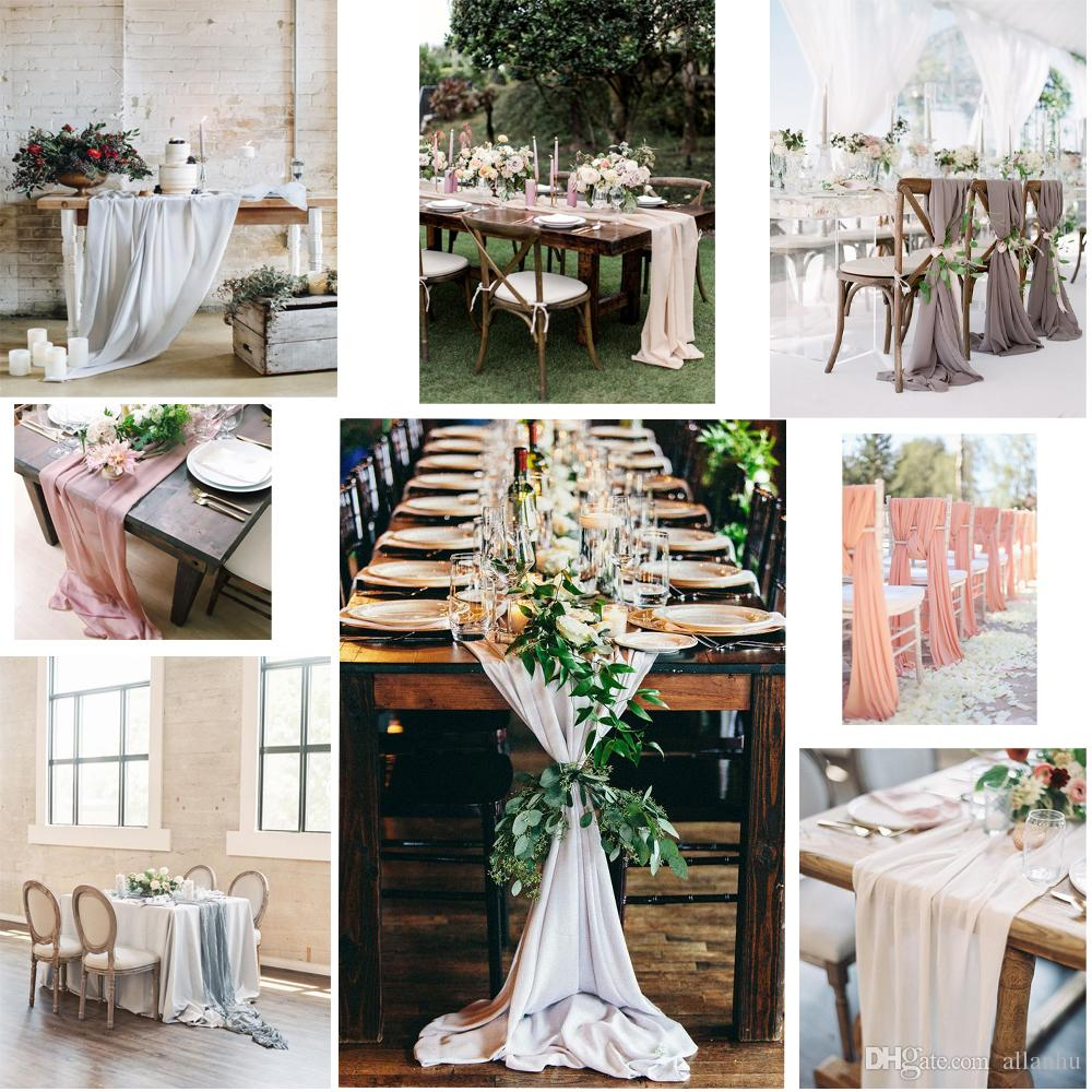 New Arrival 27*120 inches 50 Colors Home Table Cloths Chiffon Table Runner Free Shipping Cheap Long Chair Covers Fabric For Home Garden