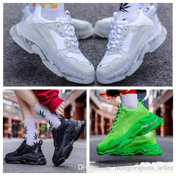 Neue Art und Weise Triple S-Turnschuhe der Männer Frauen beiläufige Schuh-Paare 17Fw Triple S Klar Sole Weiß Schwarz, Grün, Rosa Sport im Freien Dad Schuh