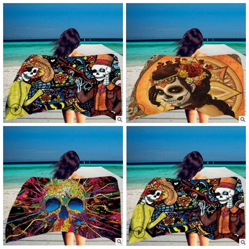 Square Print 150*75cm Beach Towel Skeleton Head Towel Superfine Fiber With Tassel Color Soft Hand DHL Free
