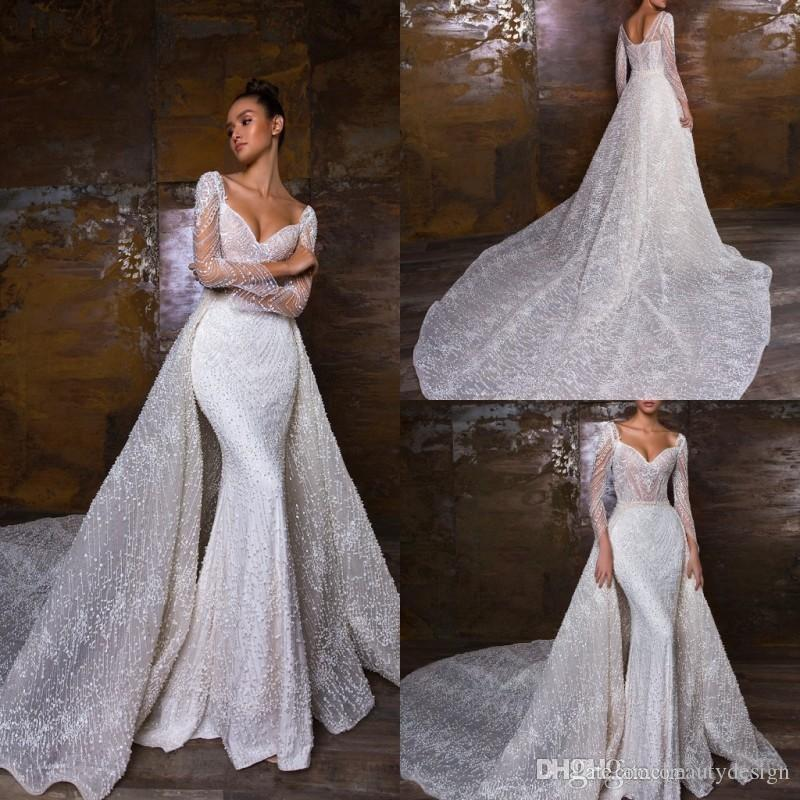 Crystal Design 2020 Arabic Mermaid Wedding Dresses With Detachable Train Lace Wedding Dress Appliqued Country Bridal Gowns Custom Made