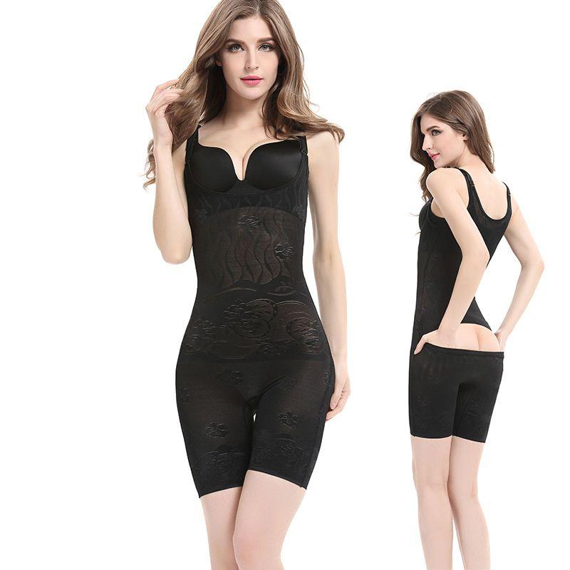 Cinturón de entrenador de cintura de faja de cuerpo completo para mujer Body de adelgazamiento Pantalones de control de levantador de trasero Lencería Entrepierna abierta