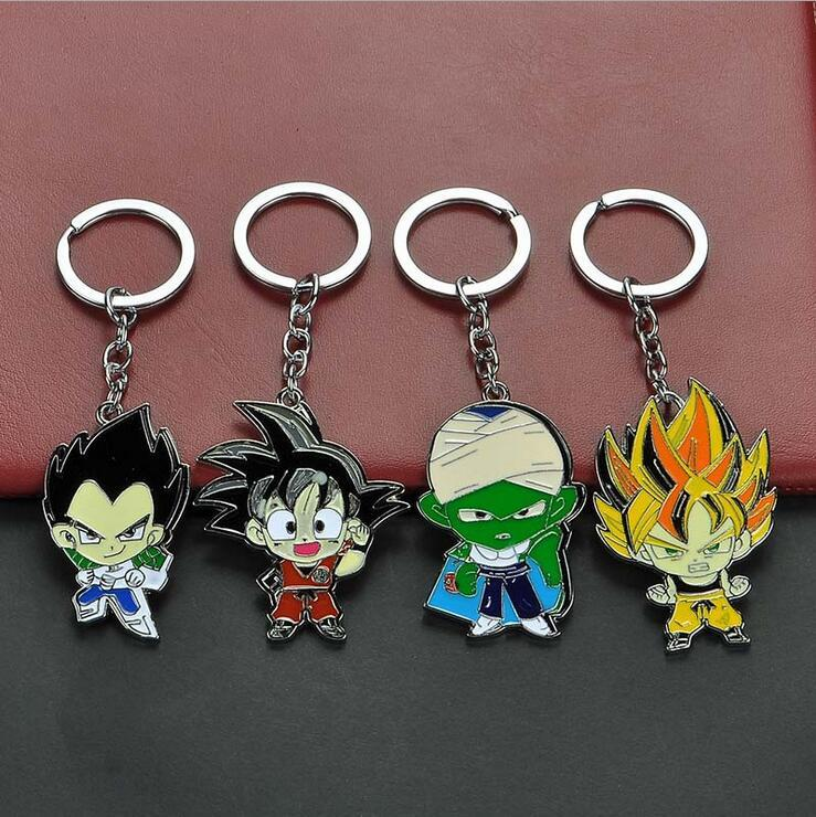 10pcs Mixed Styles Anime Dragon Ball Z Monkey Keychain Son Goku Super Saiyan Zinc Alloy Key Ring Holder Men Jewelry Chaveiro Souvenir
