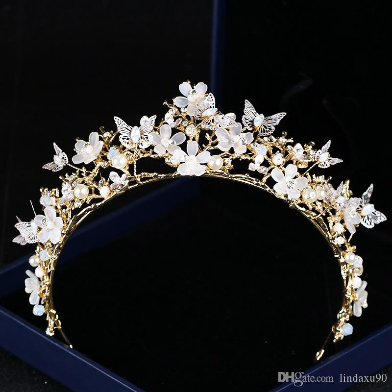 Lüks 2019 Düğün Gelin Tiara Rhinestone Kafa Adet Kristal Gelin Bantlar Saç Aksesuarları Akşam Gelin Elbiseler