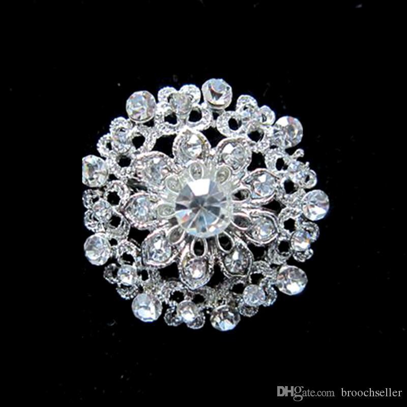 Sparkly Prata Banhado A Cristal De Strass Claro Diamante Pequeno Flor Broche Partido Prom Pin Jóias