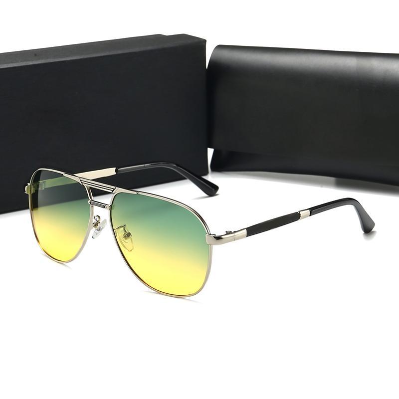 Marka moda trend tasarımcısı erkek ve kadın güneş gözlüğü açık lensler renkli metal PC ince malzeme malzeme eğilim FH4 güneş gözlüğü geri
