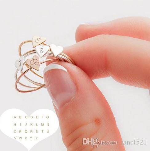 Schreiben Ringe Mädchen / Damen Open Gold / Silber / Rose Gold Ringe einfache Art und Weise Schmuck Accessoires Band Ringe