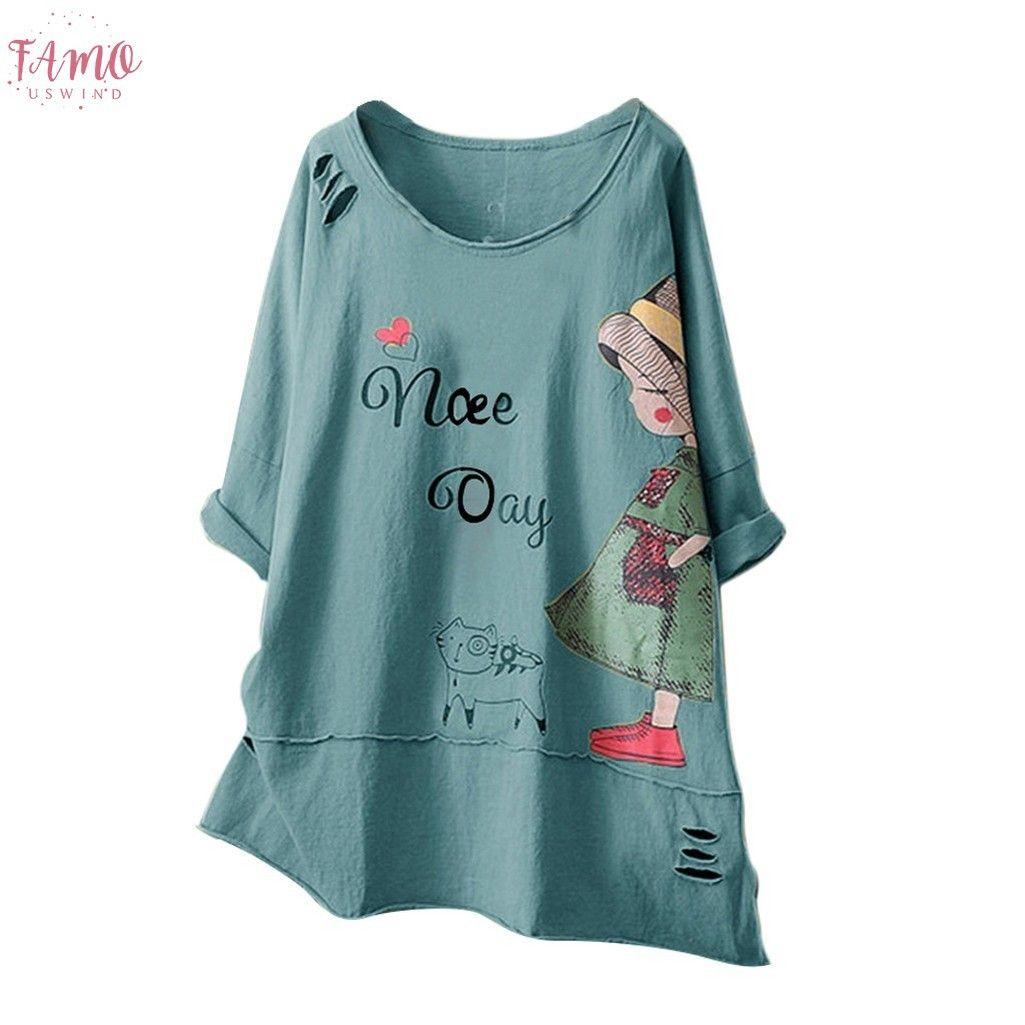 Nouveau T-shirt Femmes Mode O cou à manches courtes Cartoon coton imprimé lin Hauts Poleras Camiseta Mujer Top Women Harajuku T-shirt