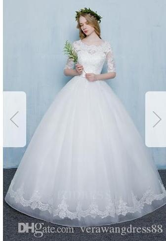 Topu Elbise Scoop Sweep Fırça Tren Organze Düğün Dress067