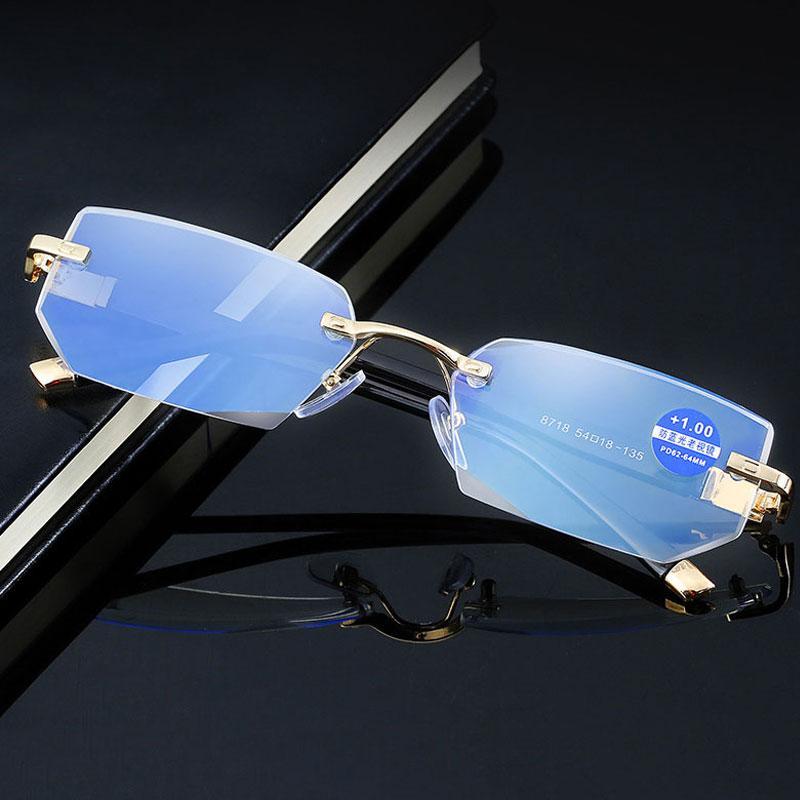Luxo-Antiblue óculos de leitura de luz Presbiopia Óculos Lente de vidro transparente Unisex sem aro Óculos de armação de óculos Força +1.0 ~ +4.0