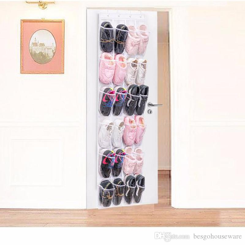 24 кармана стеллажи для хранения обуви за дверью Подвесные туфли Нетканые сумки для хранения Стеллаж с крючками Складная обувь Сумки-органайзеры BC BH0963