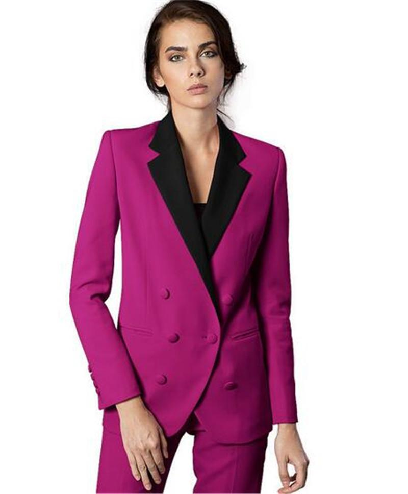 Notch Lapel Women Pantsuits Tuxedo 2 Piece Set Fuchsia Women Business Suit Female Office Uniform Ladies Pantsuits Custom Made