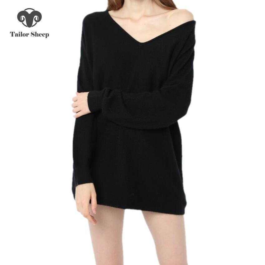 18 nuove donne maglione 100% puro cashmere maglione pullover sciolto femminile sexy scollo a V pullover per maglieria lana oversize