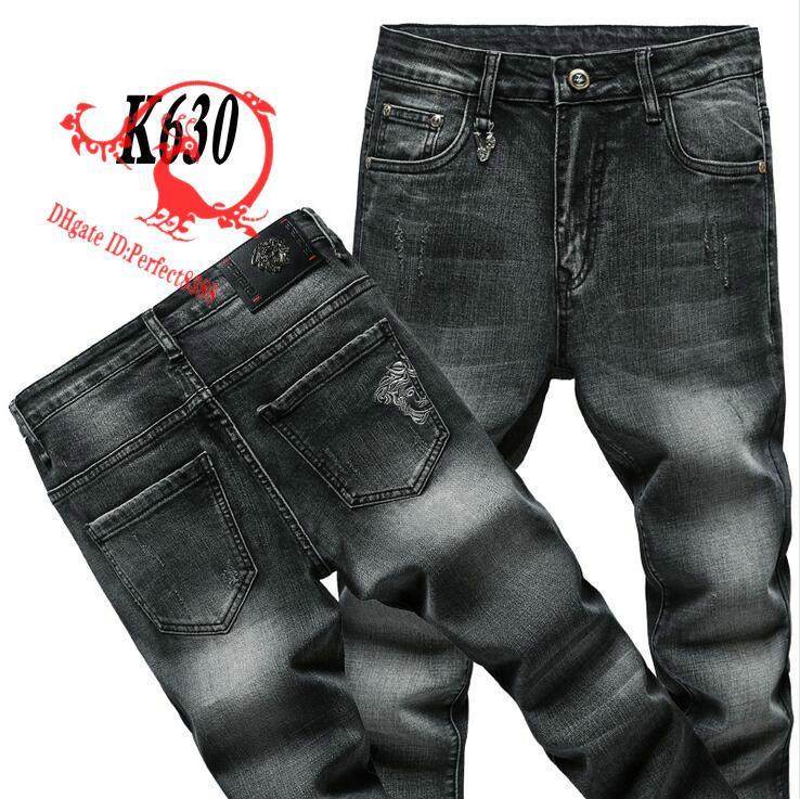 K630 VJ-Jeans 2020 Calças Primavera Verão calça calças masculinas jeans stretch de algodão calças calças lavadas business casual reta