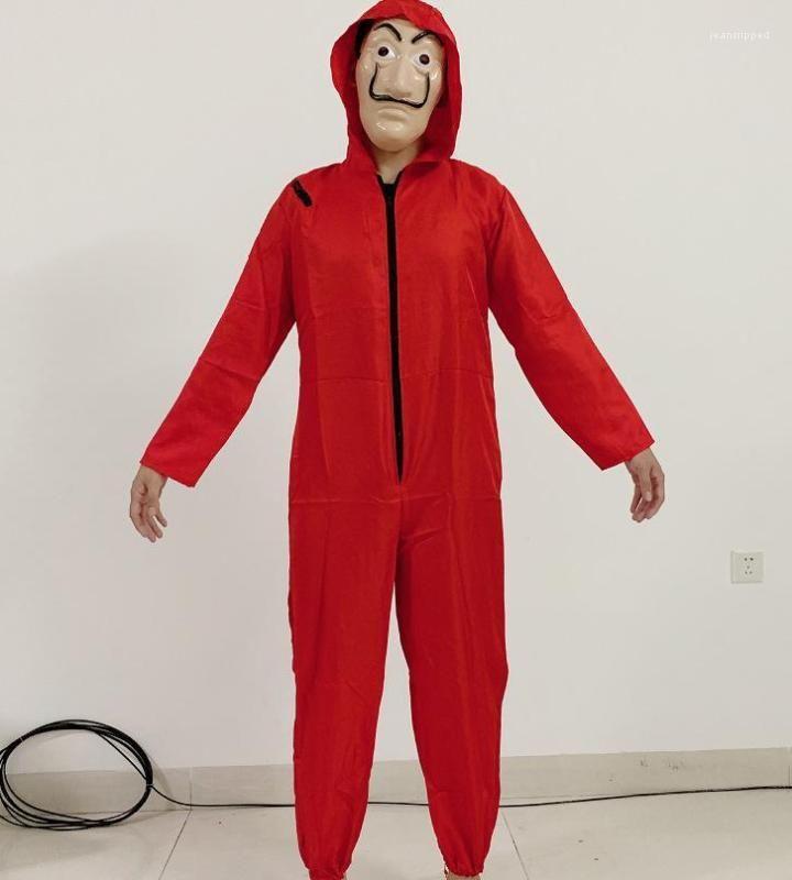 papel Cosplay One Piece Costume Men Mask Red Clothes Halloween Cosplay La casa de