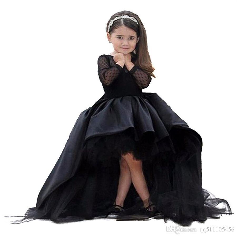 Compre Vestidos Negros Para Niña De Flores Mangas Largas Y Bajas Mangas Largas Hasta El Suelo Satén Tul Vestido De Bola Vestidos De Fiesta De Boda